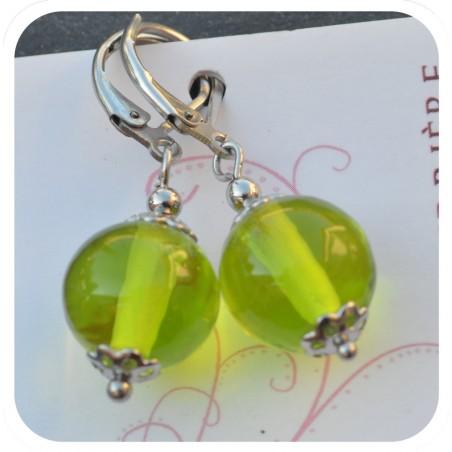 boucles d'oreilles pendantes verre filé