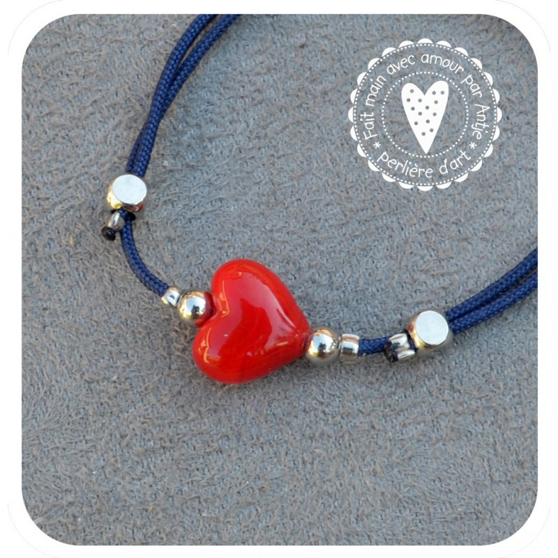 bracelet cœur verre filé